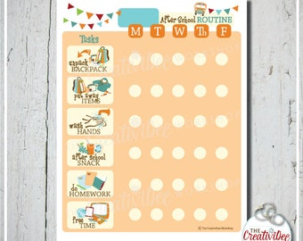 After School Routine Chart | EDITABLE NAME | Orange | After School Chart | Daily Routine Chart | Printable School Chart | Chore Chart