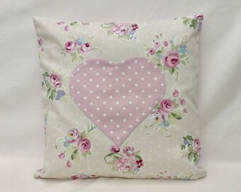 Pink Heart Cushion Cover, pillow cover with heart shaped pocket, Nursery pillow case, 16x16 Pillow Cover, Cushion cover with heart Pocket,