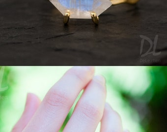 Rainbow Moonstone Ring Gold, June Birthstone Ring, Stack Ring, Stackable Birthstone Rings, Gold Ring, Marquise Ring, Minimalist Ring