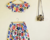 Rainbow Floral Print Crop and Matching Pin Up Skirt Dancing Summer Festival Twinset