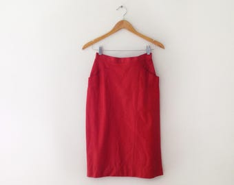 CHANEL 1980s or 1990s lipstick red leather pencil skirt size small