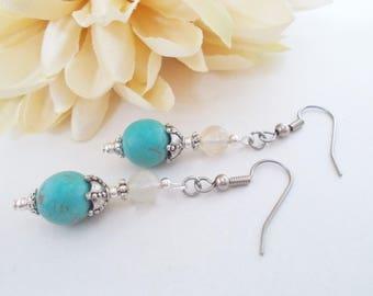 Turquoise Earrings Drop, Southwest Earrings, Gift for Her, Sterling Silver Earrings, Beaded Earrings Handmade, Birthday Gift for Mother