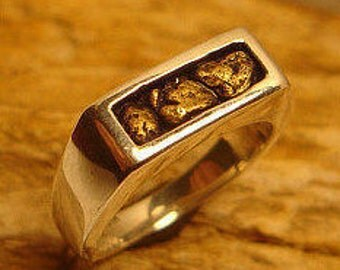 Gold Nugget Ring, Mens Gold Nugget Ring, Gift for Husband, 14k Gold Nugget Rings, Gold Nugget Wedding Band, Gold Nugget Wedding Ring,