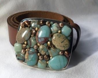 African Opal Belt Buckle