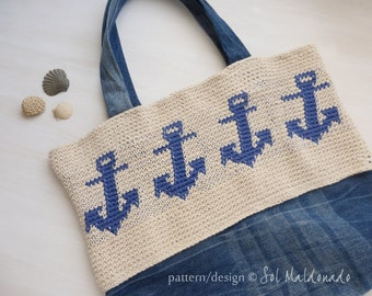 Tapestry Crochet Pattern Tote Bag Crochet PDF - Anchor crochet tapestry pattern - Instant Download