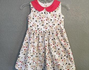 Vintage Kitty Girls Dress - Mini Pinup Girl Dress  ... Dapper Days, Disneybound, Rockabilly Kid, Pinup Dress, VLV