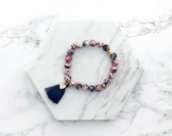 Tassel Gemstone Bracelet, Pink and Blue Gemstone Bracelet, Jade Beaded Stacking Bracelet, Layering Bracelet, Boho, Gift Her, Best Friend