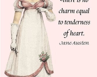 "Jane Austen Quotes. There Is No Charm Equal To Tenderness Of Heart. Emma. Jane Austen Dress. 4""x6"" Postcard. Card. Knightly. Jane Austen."