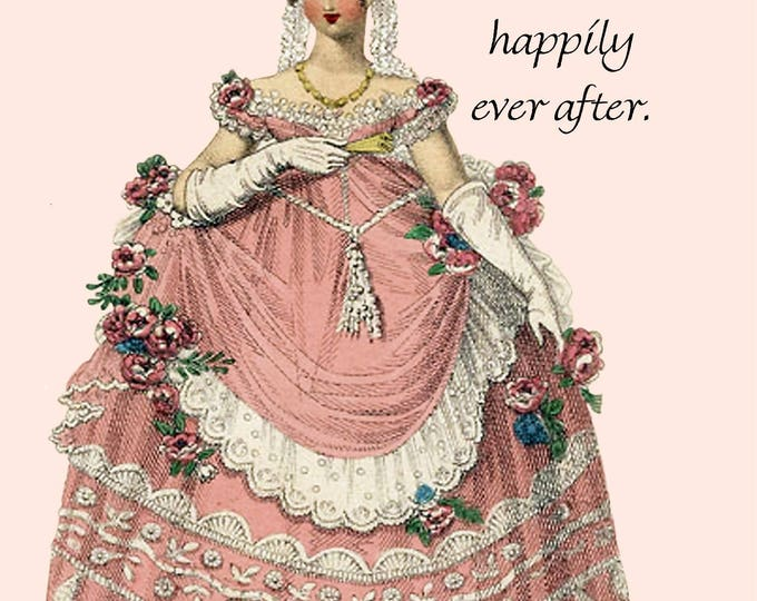 It's Never Too Late To Live Happily Ever After. Pretty Girl Postcard. Marie Antoinette Card. Gift for Her. Sweet Saying. Greeting Card.