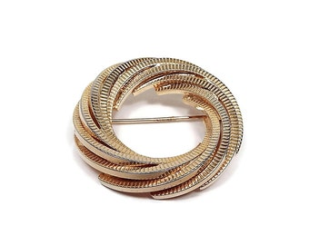 Vintage Brooch Pin Gold Tone Twisted Circle Round Metal Retro 1980s Womens Jewelry