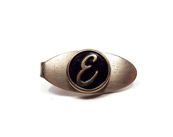 Vintage Tie Clip Black and Gold Tone Oval Letter Initial E Retro Hipster Mens Jewelry Anniversary Present Birthday Gift