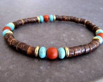 Men's Bracelet Wrist Mala Bracelet Wood Bracelet Turquoise Bracelet Healing Bracelet Surfer Bracelet Men's Gift for Him Boho Jewelry