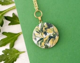 Botanical Locket, Botanical Necklace, Palm Leaf Necklace, Botanical Jewellery, Botanical Charm, Leaf Pendant, Palm Jewellery, Botanical Gift