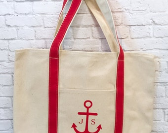 Large Anchor Tote Bag With Initials Monogram Red and Natural Canvas