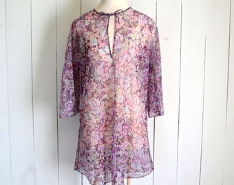Floral Cover Up Tunic - 1970s Bell Sleeve Top - Sheer Mini Dress - Vintage Beach CoverUp - Large L