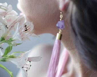 Handmade pink silk tassel faceted purple amethyst stone shoulder long gold tone earrings