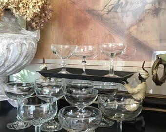 Vintage Wedding Champagne Coupes Party Pack Mix & Match Glass Set 12