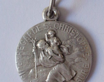 Saint Christopher Vintage French Religious Medal Pendant Jewelry on 18 inch sterling silver rolo chain
