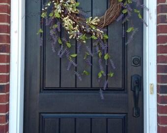 Spring Wreath-Summer Wreath-Grapevine Door Wreath Decor-Purple Wispy Branches-Green Hydrangea-Indoor/Outdoor-Pussywillow