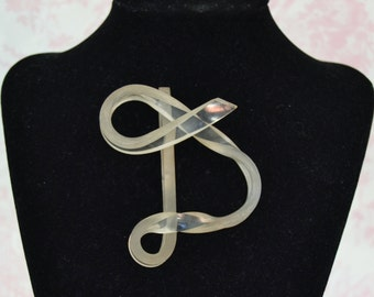 Vintage D Initial Brooch in Clear Acrylic
