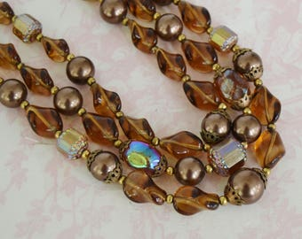 Vintage 1960s Necklace with Three Strands of Brown Faux Pearls and Glass Beads by Trifari