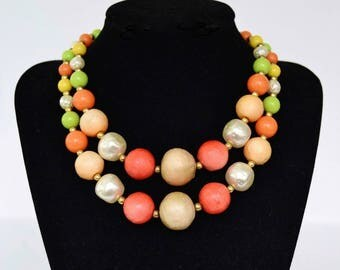 Vintage Necklace with Two Strands of Beads in Green Yellow and Orange