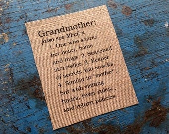 Burlap  Grandmother Definition - Home Decor - Baby Shower Gift - Anniversary Gifts for Mom - Mother's Day - Father's Day - Nana Mimi Gigi
