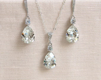 Crystal Bridal Set. Bridesmaids Jewelry Set, Crystal Pendant and Earrings,  Sterling Silver Wedding Jewellery,  Crystal Drop SET