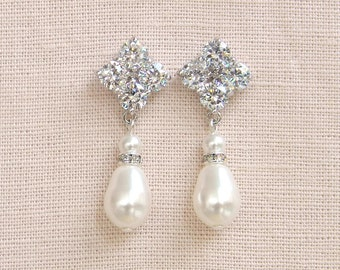 60% OFF SALE Bridal Earrings, Drop Pearl Earrings, Bridal Earrings, Wedding Jewelry, Swarovski, Patra Pearl Earrings
