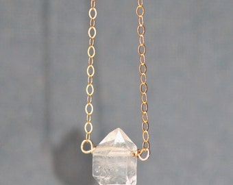 GENUINE HERKIMER Diamond Necklace,Gold Filled,ROSE Gold or Sterling,Dainty Petite,Double Terminated Quartz Gemstone Choker,Layering,Gift