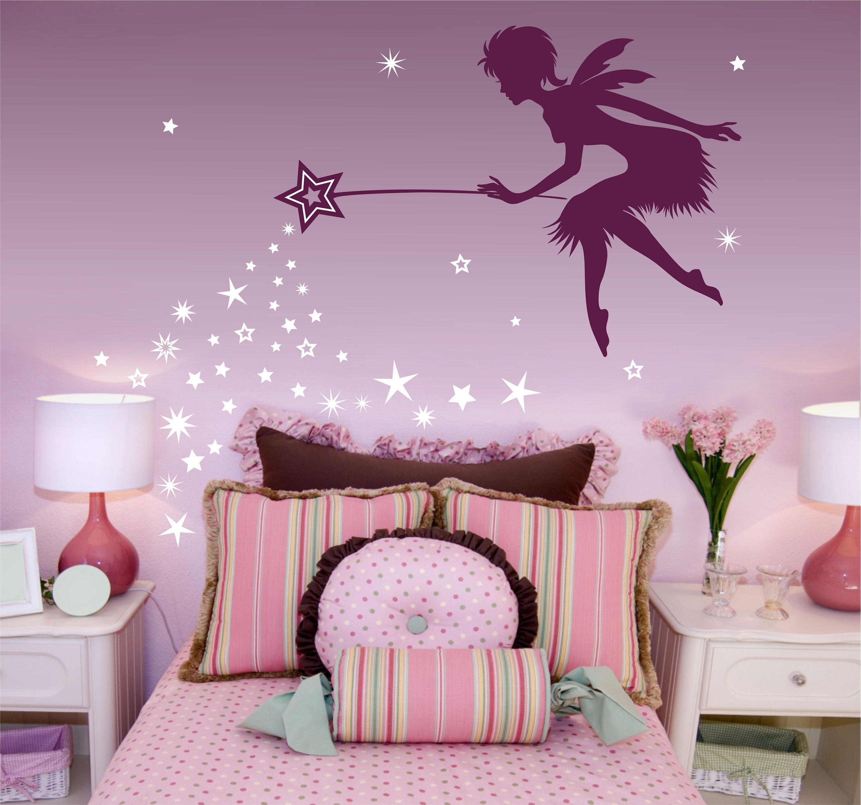 Fairy art fairy decor pixie dust star wand wall decal for Vinilos para nenas
