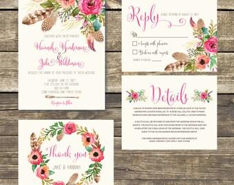 Printed Wedding Invitation - Boho Floral Watercolor Wedding - Boho Wedding - Watercolor Floral - Rustic Wedding - FREE Hard Copy Proof
