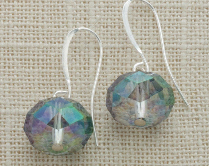 Iridescent Earrings Smokey Glass Faceted Bead Earring French Hooks Handcrafted (Silver, Gold or Rose Gold) 6I