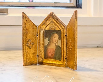 Vintage Florentine Triptych, Madonna, Trifold, Gilded, Wood