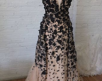 Black peach Dior styled Evening gown wedding dress