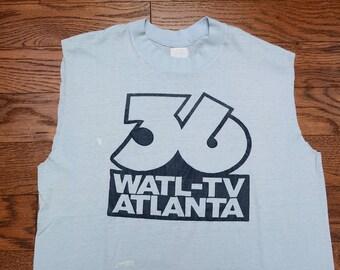 vintage 70s 36 WATL-TV t-shirt Atlanta ATL tv station channel 36 1970 burnout tee shirt paper thin soft sleeveless shirt M/L