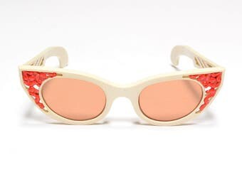 vintage 50s atomic sunglasses Polaroid 72 Cool-Ray USA red white sunglasses cat eye red orange lens 1950 eyewear rockabilly