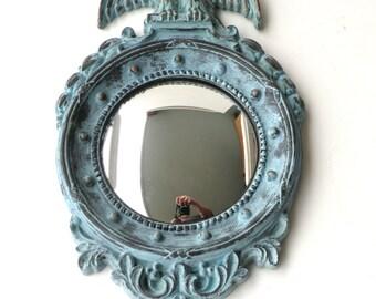 Federal Style Blue Mirror Shabby Chic Decor Bulls Eye Americana Patriotic Hand Painted Antique Blue Americana Porthole Convex Wall Decor