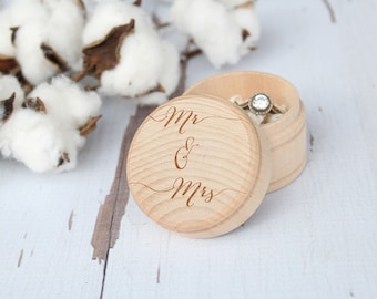 Mr and Mrs Ring Box Keepsake Ring Box Engraved Rustic Wedding Ring Box