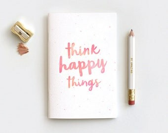 Stocking Stuffer Notebooks, Think Happy Things Journal & Pencil Set, Midori Travelers Notebook, Watercolor Style Notebook, 80 Pages, 3 Sizes