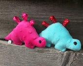 Small dinosaur plush toy, Quiet minky toy, Minky dino for kids, Stuffed Animal Ribbon Toy