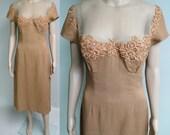 Vintage 1950s Dress//Peggy Hunt//Designer//Illusion//Mod//Wiggle Dress//Party Dress//New Look//Rockabilly//50s Dress
