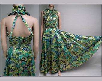 Vintage 1960s Dress//60s Halter Dress//Designer//Blue//Green//Metallic Gold//Flowing//Party Dress//Gown//Evening Gown