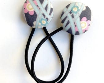 Liberty of London New Release Fabric Covered Button Hair Ties -  Pretty Pale Blue and Pink Floral