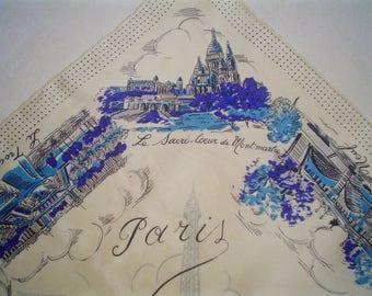 Vintage Paris Scarf 1950s Blue and White Print Silk Scarf Souvenir of France