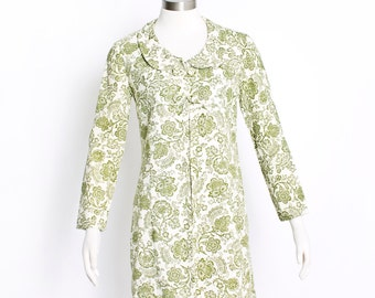 Vintage 1960s Jacket - Green Floral Printed Ivory Linen Open Coat 60s - Small / Medium