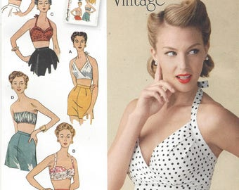 1950s Womens Bra Tops Halter Tops Strapless Bra Top Balconette Halter Simplicity Sewing Pattern 1426 Size 14 16 18 20 22 Bust 36 to 44 FF