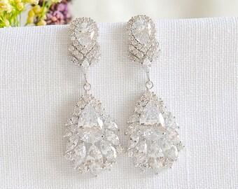 Crystal Bridal Earrings, Chandelier Wedding Earrings, Dangle Drop Earrings, Leaf CZ Earrings, Vintage Style Wedding Bridal Jewelry, LAUREL