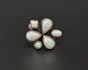 Opal Sterling Ring Silver Opal Cluster Size 8.5