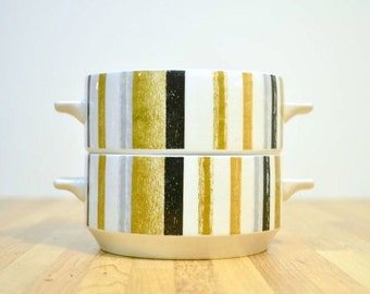 Mid Century Midwinter Queensbury Soup Bowls Handled Striped Ceramic Staffordshire England Fine Tableware: Set of Two